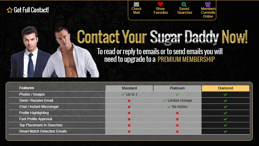 sugar daddy features