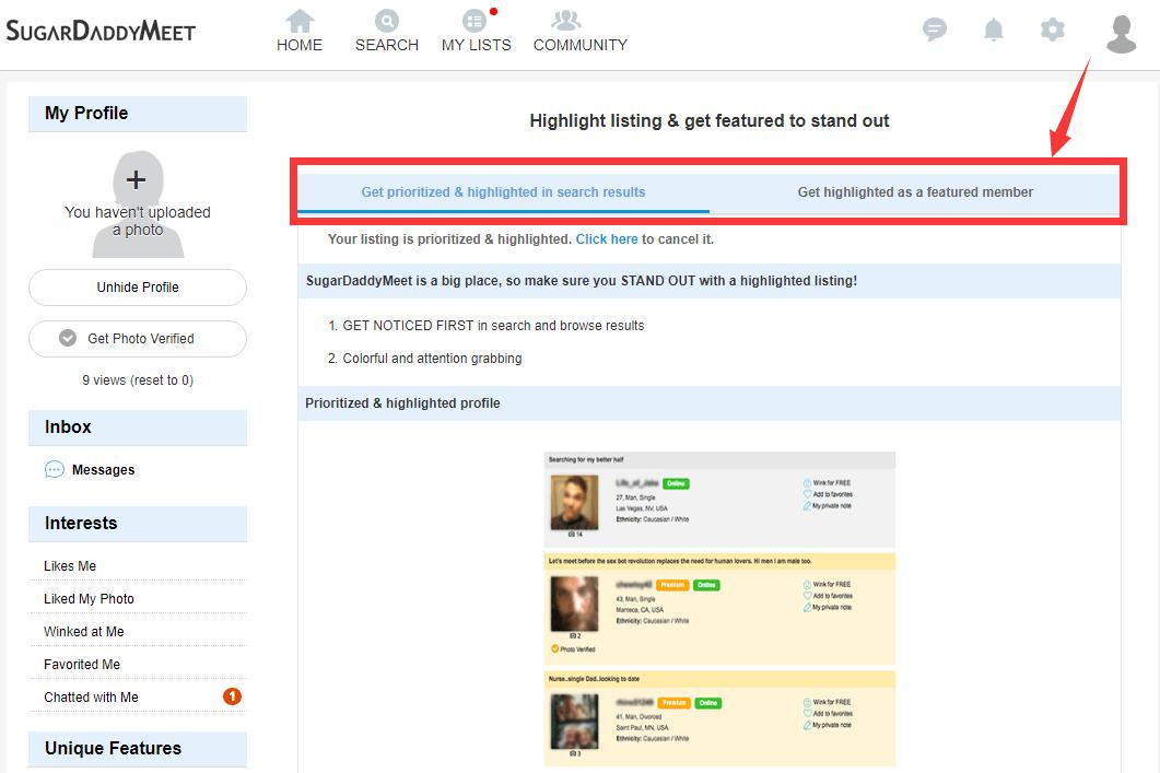 sugardaddymeet highlight feature