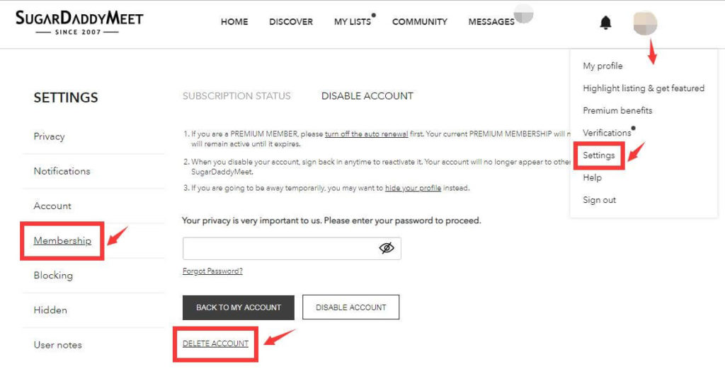 remove sugardaddymeet account